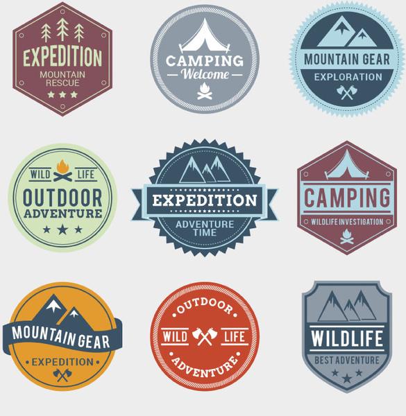 9 outdoor adventure label vector