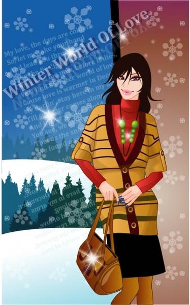 9 vector winter women