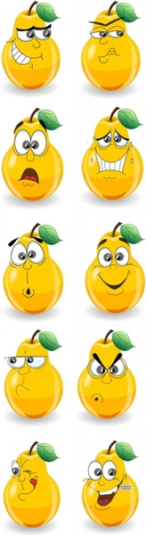 a cute cartoon pear expressions vector
