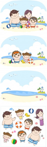 childhood holiday design elements funny cartoon characters