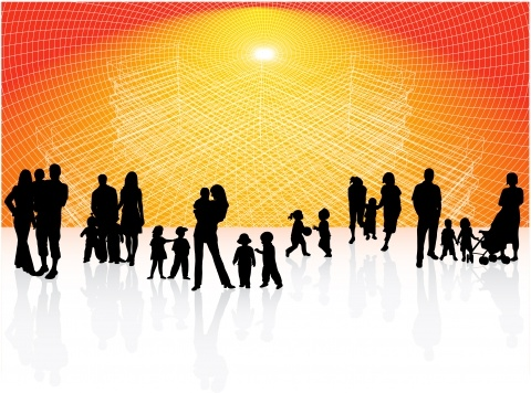 community background people icons 3d silhouette design