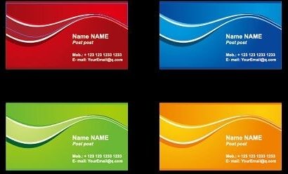 name card templates colorful curved decoration