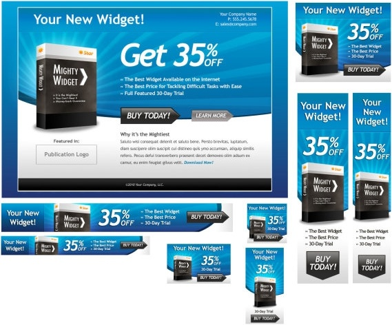 a set of web pages and ad templates psd layered