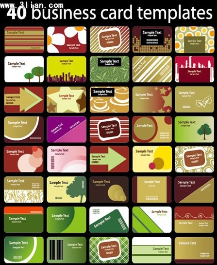 business cards templates collection colorful nature abstract life themes
