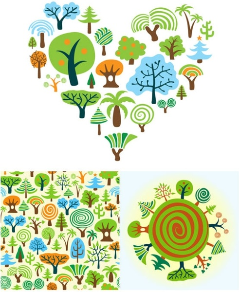 a variety of cartoon trees vector