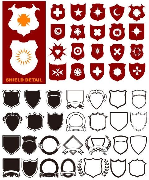 a variety of shield shapes vector