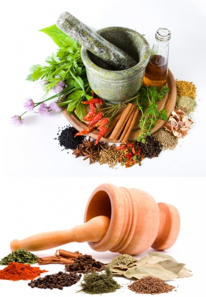 a variety of spices and garlic mortar definition picture