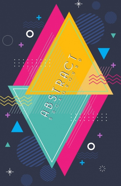 abstract background colorful triangles round decoration