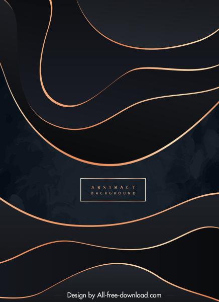 abstract background dark design golden curves decor