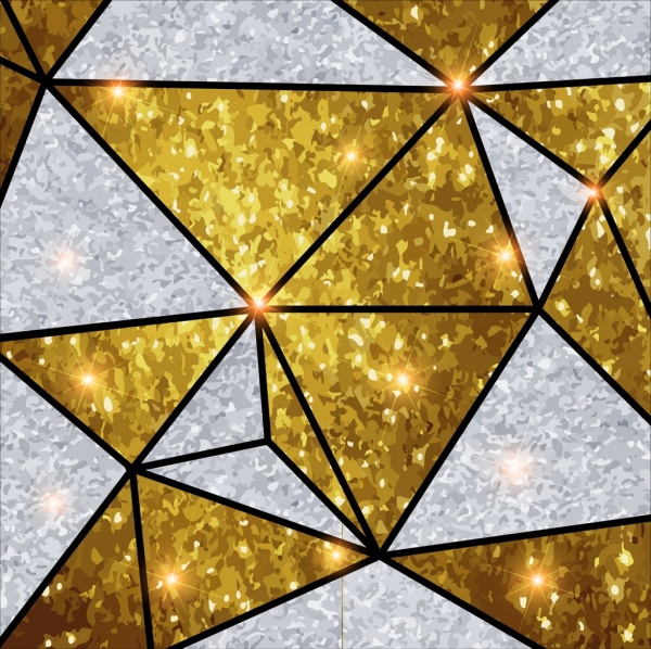 abstract background glittering golden silver polygonal design