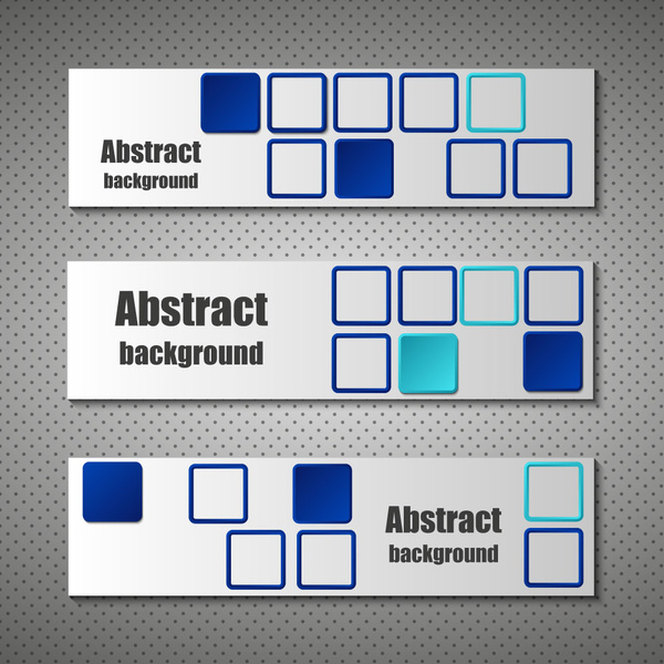 abstract banner design sets with squares background