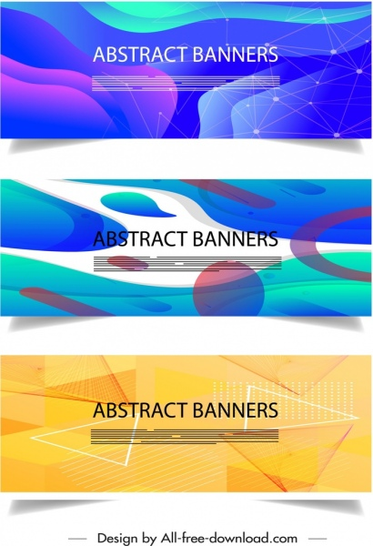abstract banner templates colorful geometric dynamic decor