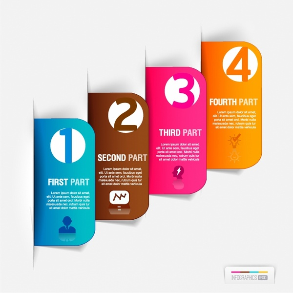 Abstract business paper cut infographics number template Free vector ...
