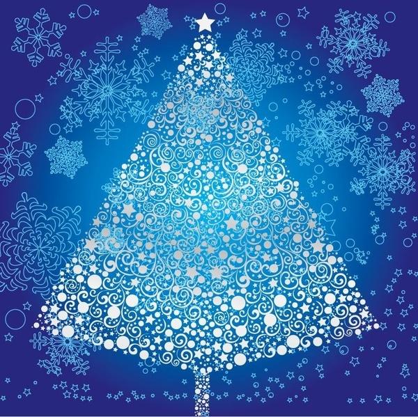 Abstract Christmas Tree with Snowflake Vector Art