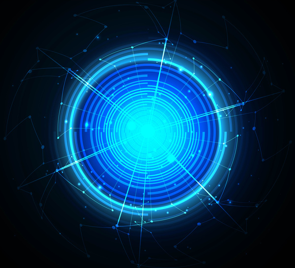 abstract circle blue shiny technology vector backround free vector
