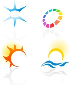 solar logo sets collection various colorful shapes design