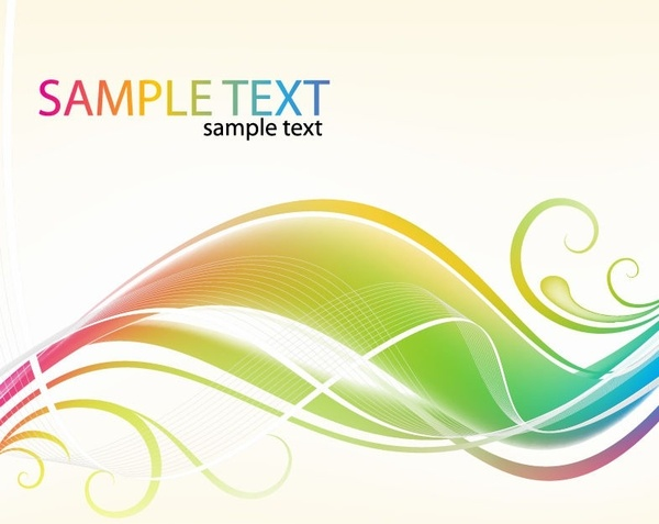 Abstract Colorful Swirl Waves Vector Background