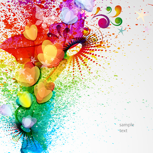 abstract elements with heart grunge background vector