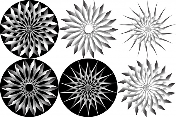 abstract flowers sets illustration in black white