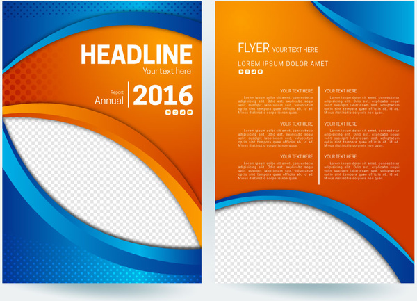 Abstract flyer background with orange and blue color free vector in abstract flyer background with orange and blue color altavistaventures Images
