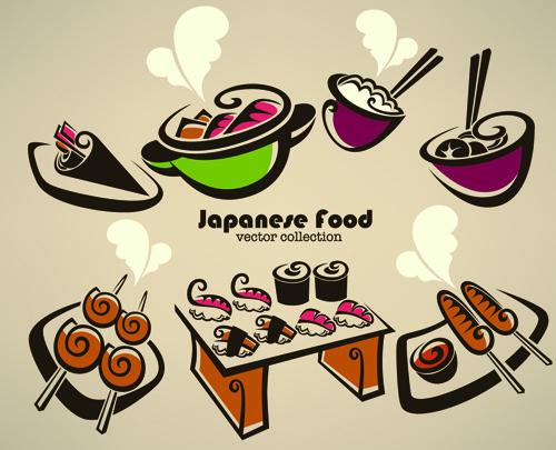 abstract food logos creative design vector