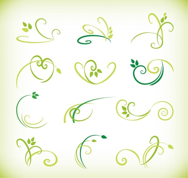 abstract green floral elements vector collection
