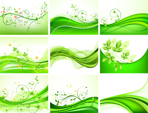 Abstract Green Leaves Background Design Vector Free Vector