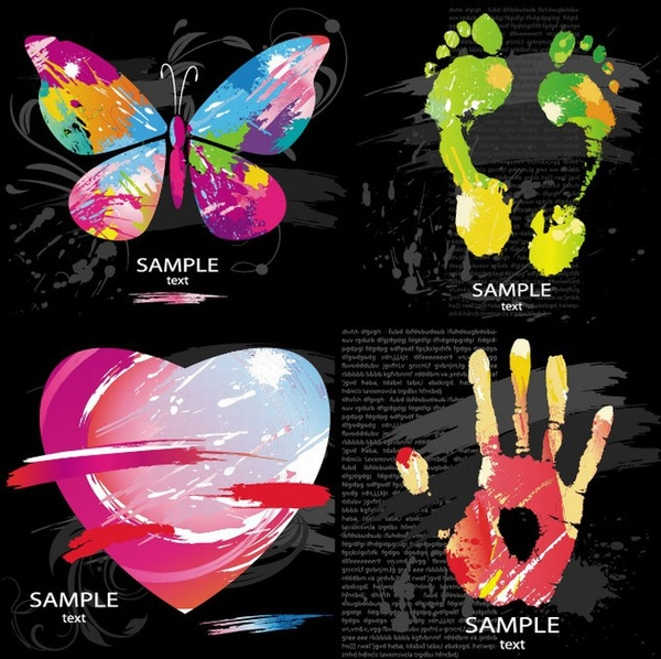 butterfly footprint heart hand icons colorful grunge decor