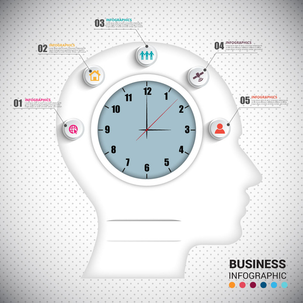 abstract infographic design with human head and clock