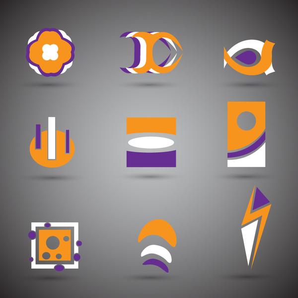 abstract logo sets design in violet orange white