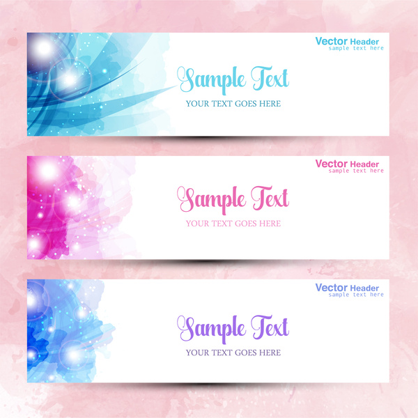 abstract modern style vector headers set