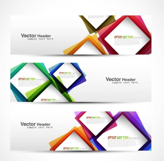decorative banner templates modern colorful geometric shapes
