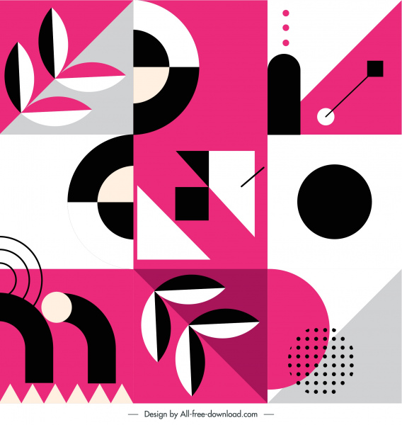 abstract pattern template flat geometric shapes retro design