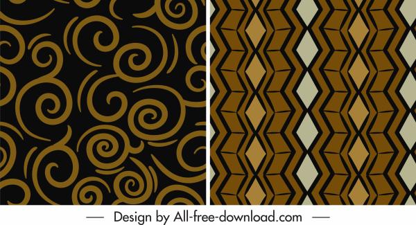 abstract pattern templates retro flat shapes decor