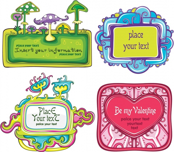 badge templates cute colorful flat mushroom heart decor
