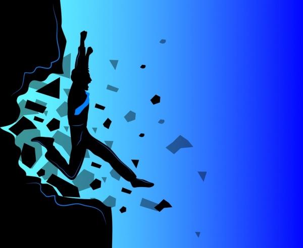 achievement background breaking human silhouette design