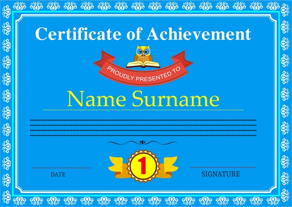 achievement certificate design classic style in blue