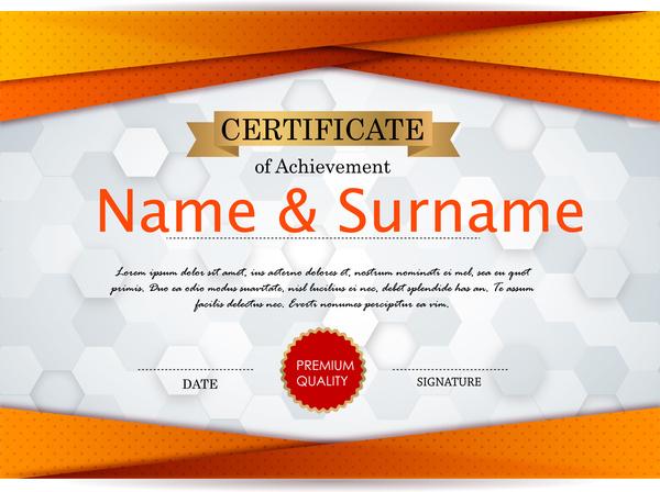 achievement certificate design with bokeh background