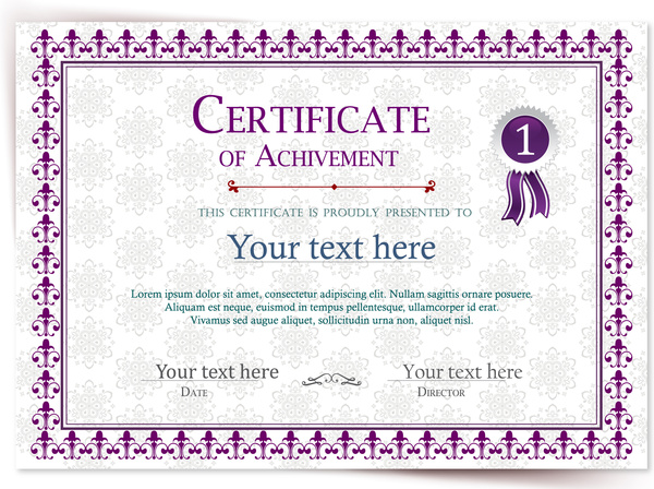 achievement certificate illustration with vignette violet style free