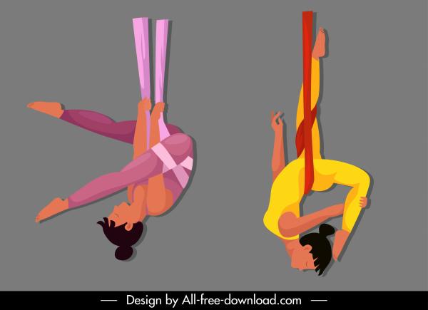 acrobat performer icon women motion sketch cartoon design