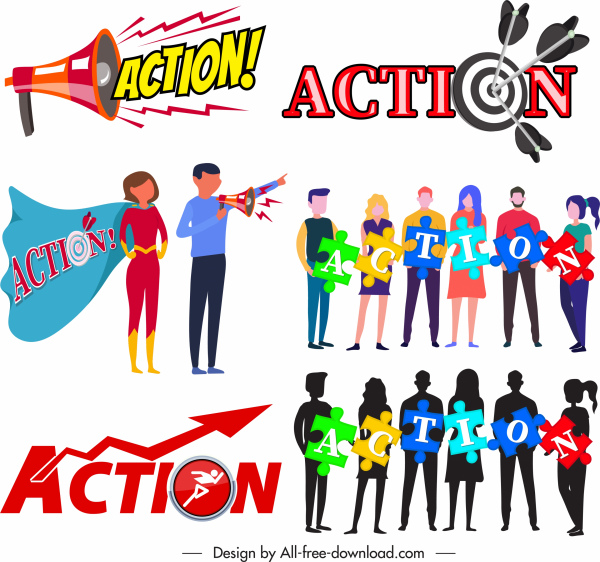 action sign templates speakers arrows staffs puzzles sketch