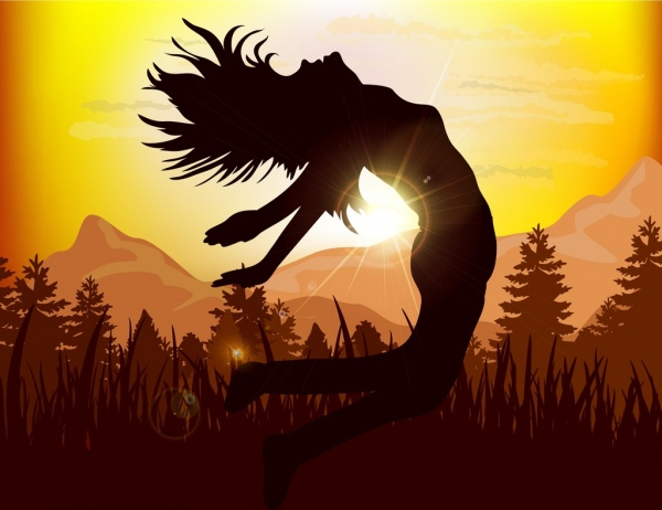active girl icon silhouette design sunlight mountain view
