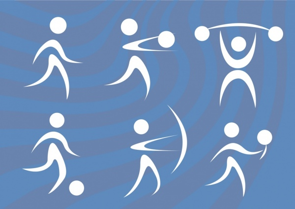 active sports icons human symbols circles curves design