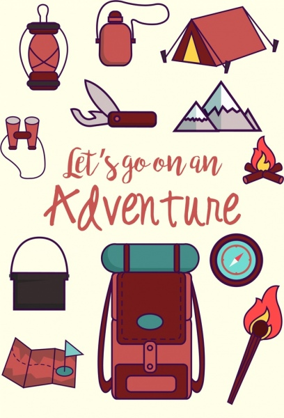 adventure banner camping design elements decor
