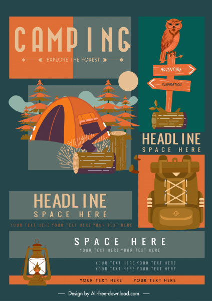 adventure camping advertising banner colorful classic decor