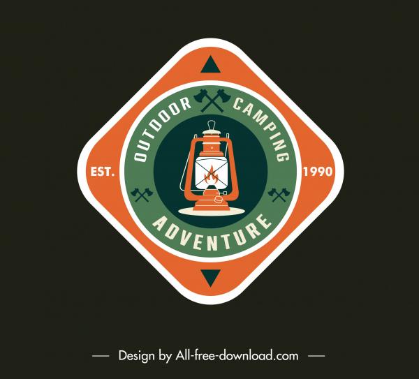 adventure camping badge template flat classic light logotype