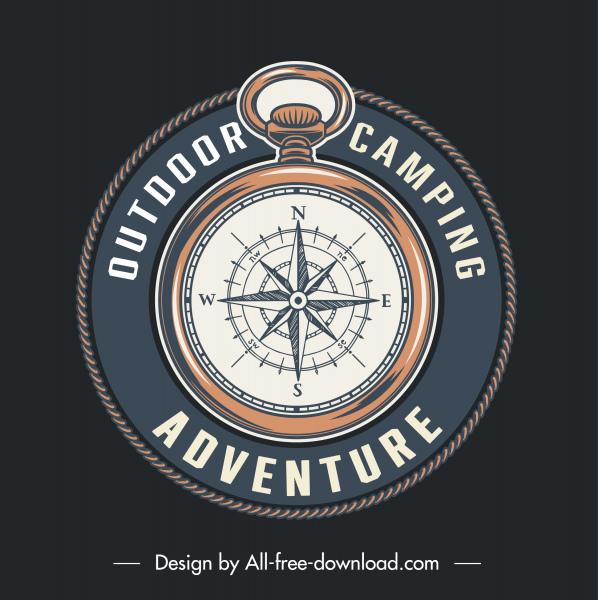 adventure camping logotype circle compass sketch elegant classic