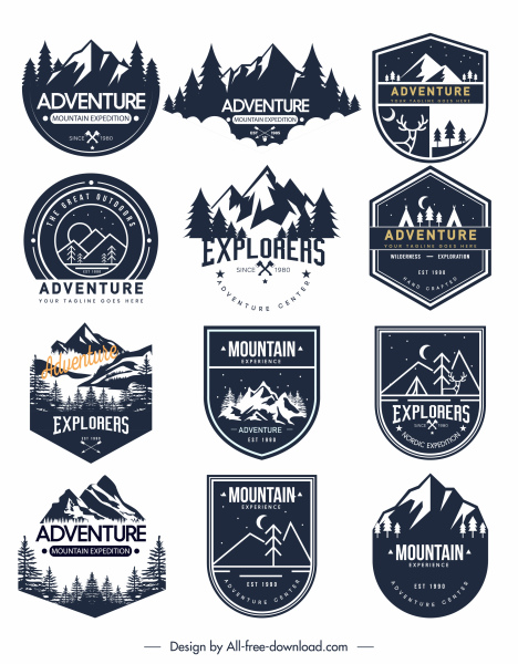adventure label logo templates classical flat sketch