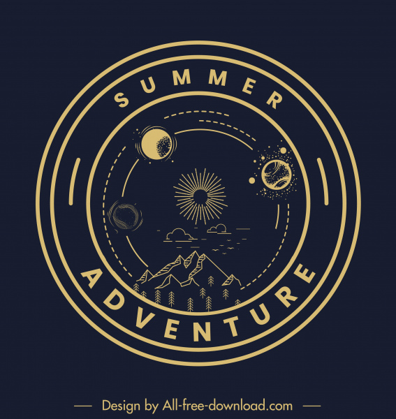 adventure logo template dark circle mountain planets sketch