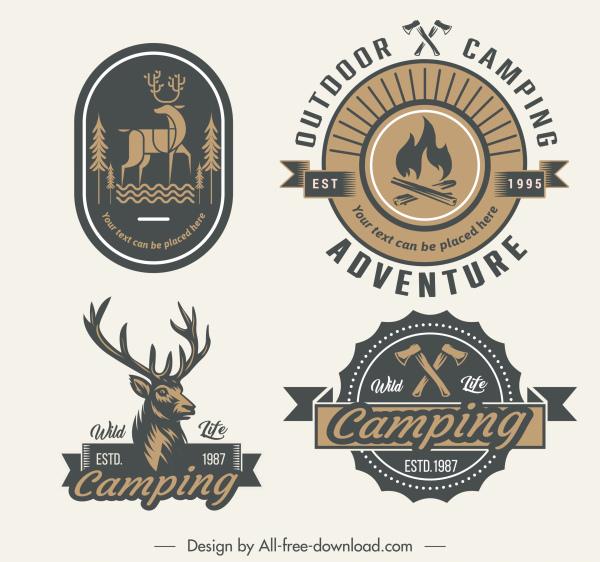 adventure logo templates retro emblems sketch